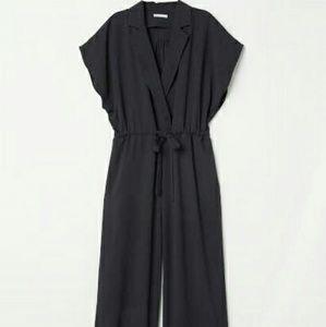 H&M short sleeve ankle wide leg jumpsuit